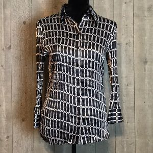 Black and Silver Accordion Blouse